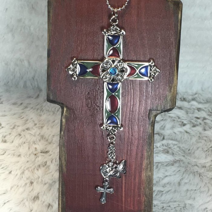 Stained Glass Cross with Aqua Stone Car Charm