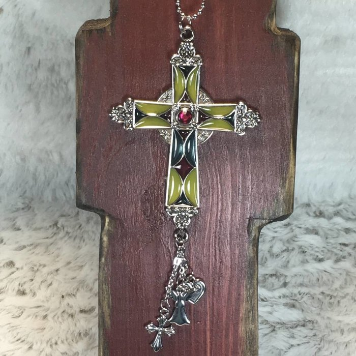 Stained Glass Cross with Fuchsia Stone Car Charm
