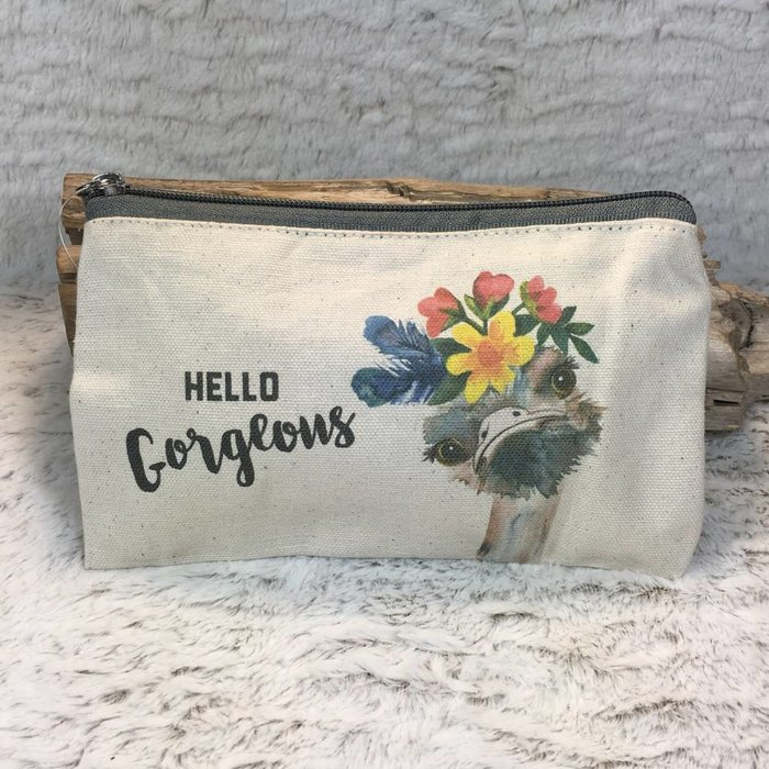 Hello Gorgeous Ostrich Cosmetic Bag