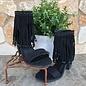 Black Lux Fringe Heels