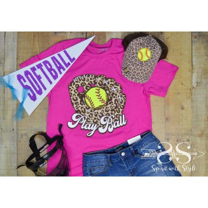 Fuchsia Play Ball Leopard Softball Graphic Tee