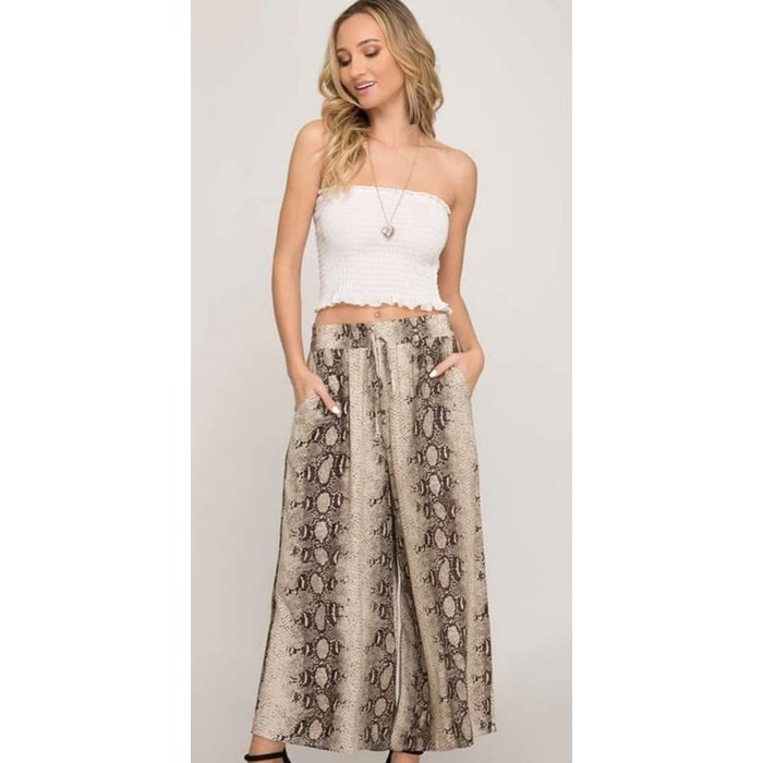 Taupe Snake Skin Cropped Palazzo Pants