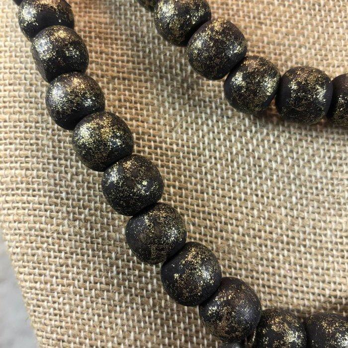 "Black Teak Wood 42"" Beaded Necklace"