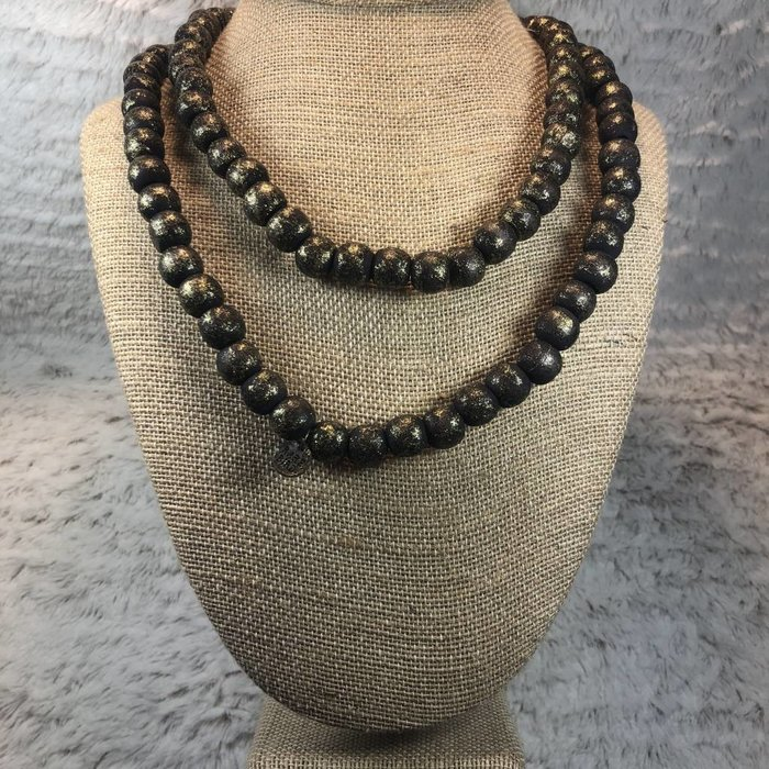 "Black Teak Wood 42"" Beaded Necklace"