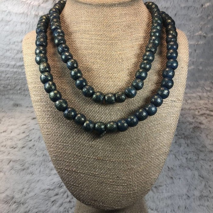"Teal Teak Wood 42"" Beaded Necklace"