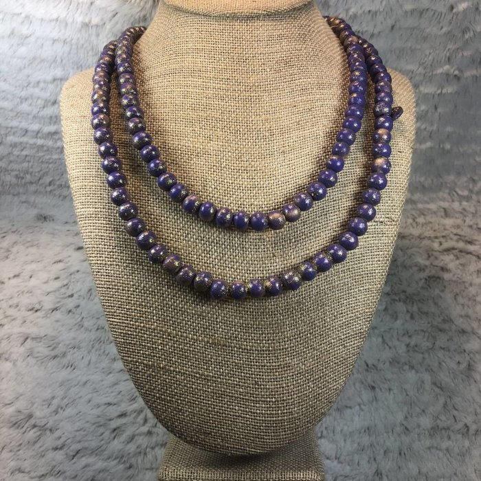 "Lavender Teak Wood 60"" Beaded Necklace"
