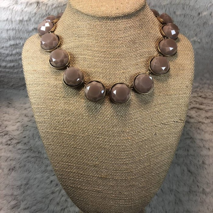 Tan Crystal Statement Necklace