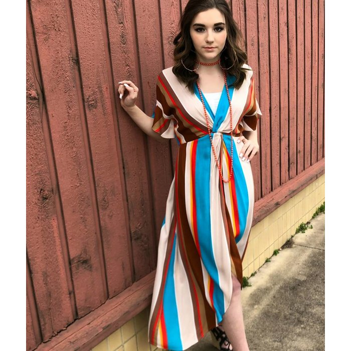 Barrymoore Multi Striped Front Twist Dress