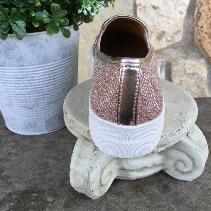 Allisto - Rose Gold Jewelled Slip On Sneakers