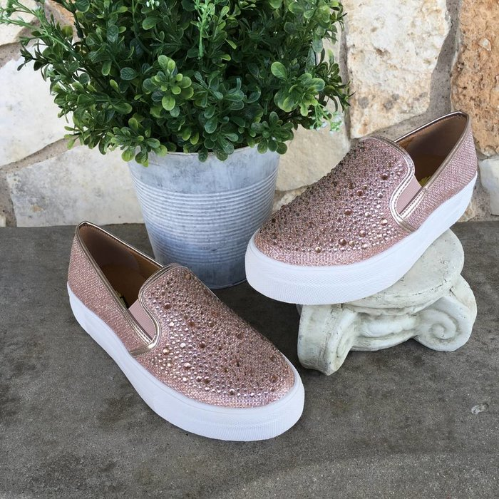Allisto - Rose Gold Jewelled Slip On Sneakers