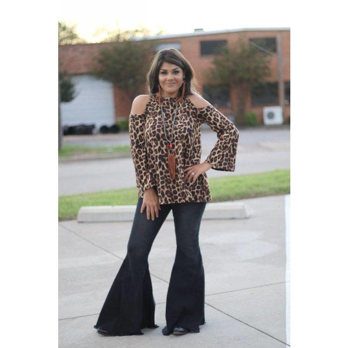 Cold Shoulder Leopard Print Long Sleeve Top