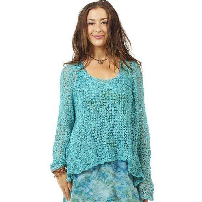 ONE SIZE - Ocean Blue Crocheted Long Sleeve Top