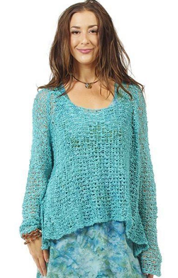 One Size Ocean Blue Crocheted Long Sleeve Top Theblingboxonlinecom