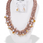 Rose Gold Braided Crystal Necklace Set