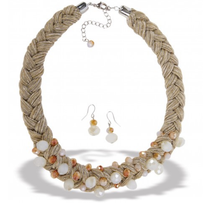 Gold Braided Crystal Necklace Set