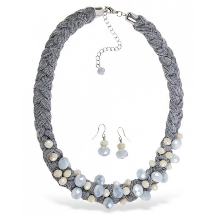 Silver Braided Crystal Necklace Set