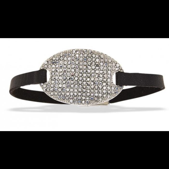 Silver Oval Bling Leather Magnetic Bracelet