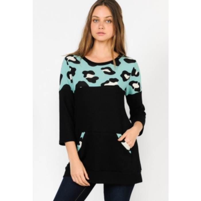 Mint & Black Leopard Top with Pocket
