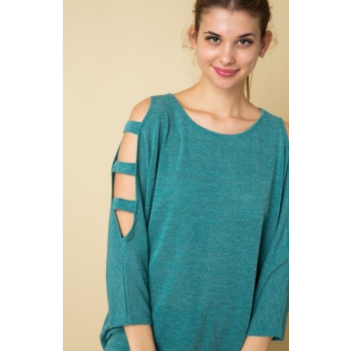 Emerald Tunic with Open Shoulder Sleeves
