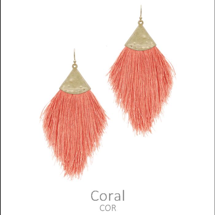 Hammered Coral Long Tassel Earrings