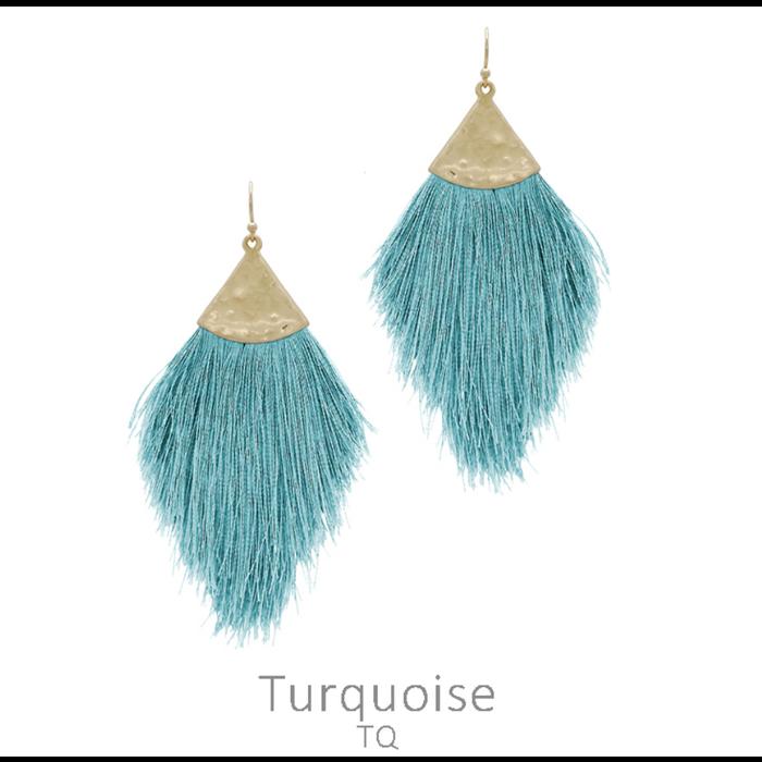 Hammered Turquoise Long Tassel Earrings