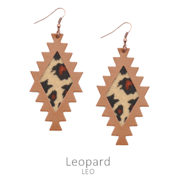 Leopard Leather Aztec Earrings