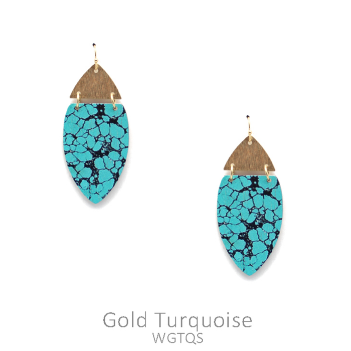 Turquoise Marble Wood Marquise Earrings