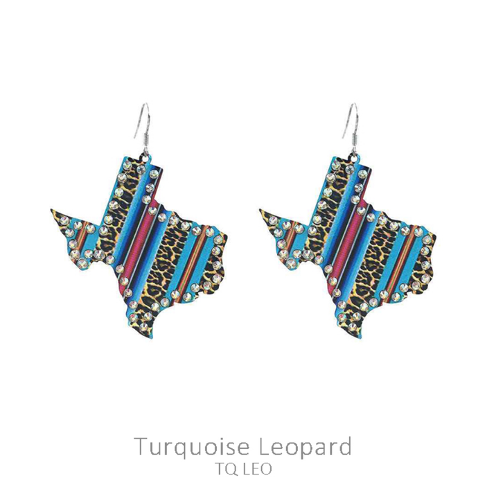Turquoise Serape Leopard Metal Texas Rhinestone Earrings