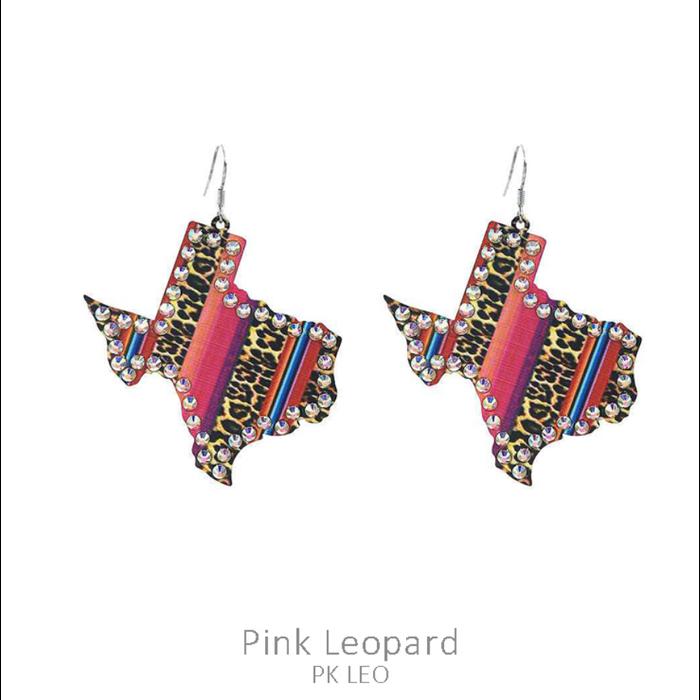 Pink Serape Leopard Metal Texas Rhinestone Earrings