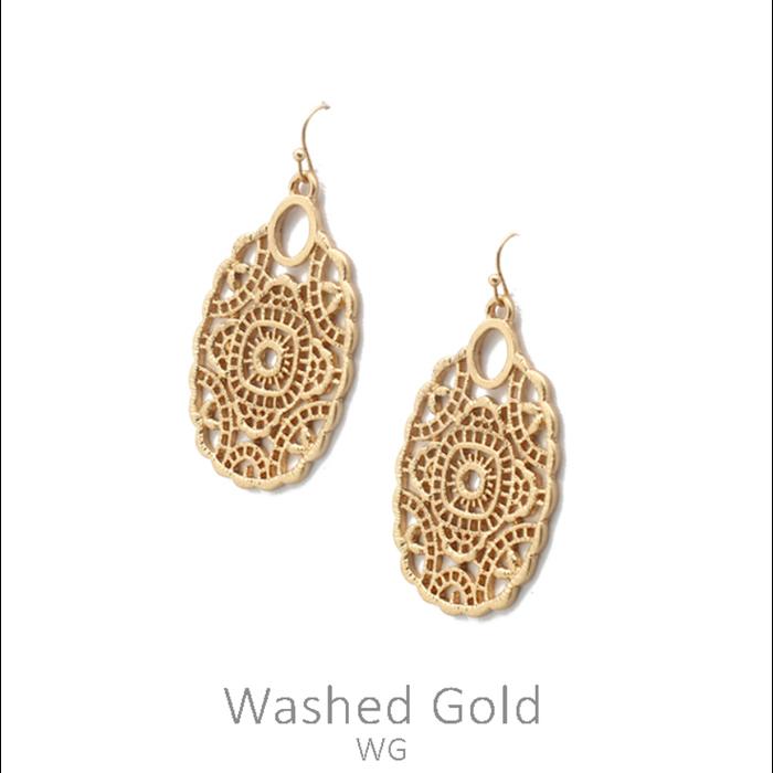 Washed Gold Metal Filgree Earrings