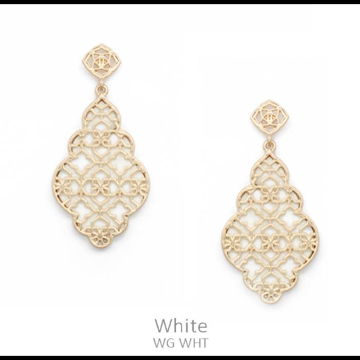 White & Gold Filgree Shell Drop Earrings