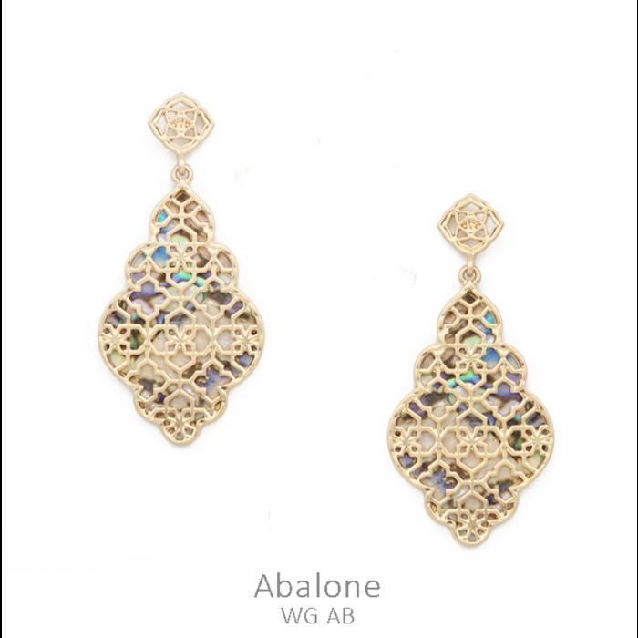 Abalone & Gold Filgree Shell Drop Earrings