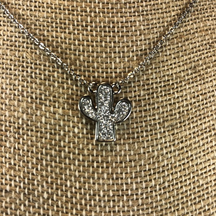 Silver Glitter Catus Necklace