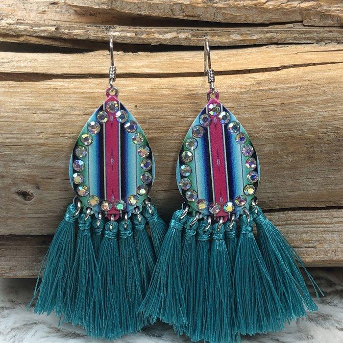 Turquoise Serape Rhinestone Teardrop Tassel Earrings