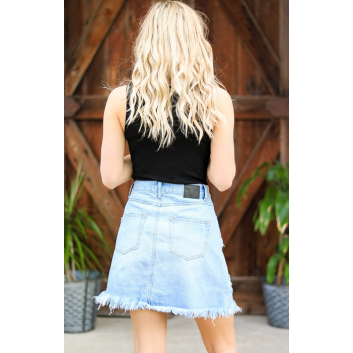 Light Wash Unfinished Hem Denim Skirt