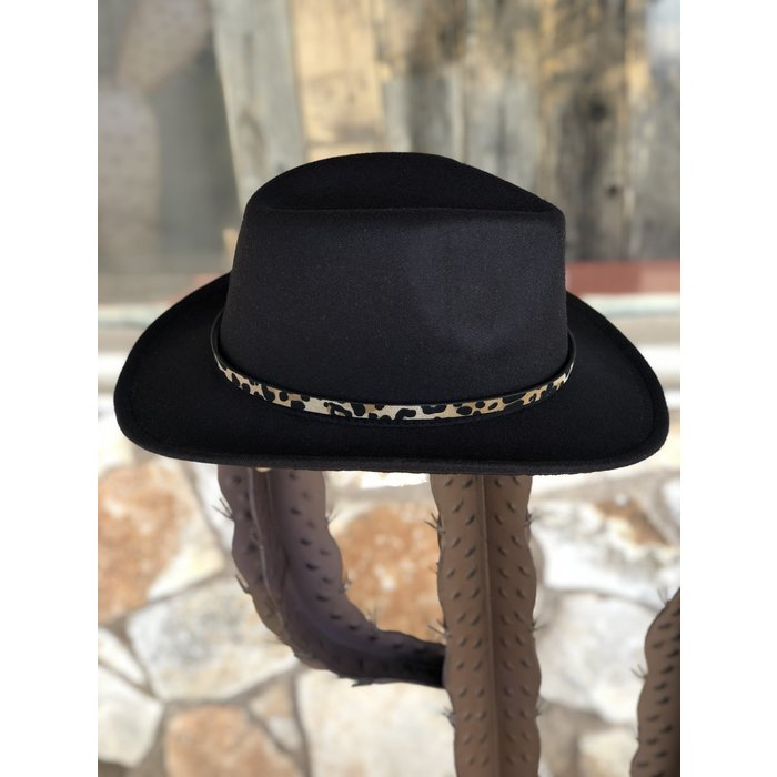 Black Leopard Band Cowboy Hat
