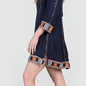 Navy 3/4 Sleeve Aztec Embroidered Dress