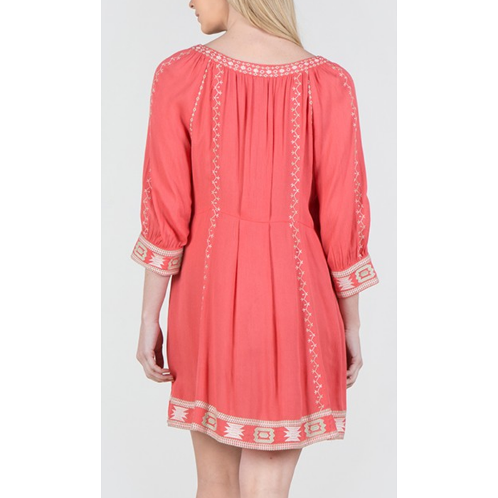 Coral 3/4 Sleeve Aztec Embroidered Dress