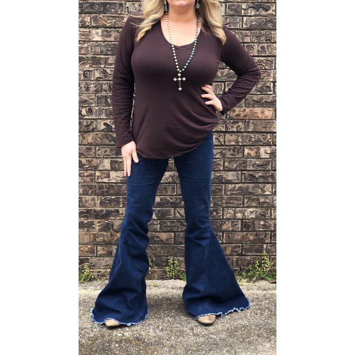 Dark Denim Bell Bottom Jean with Stretch Waist