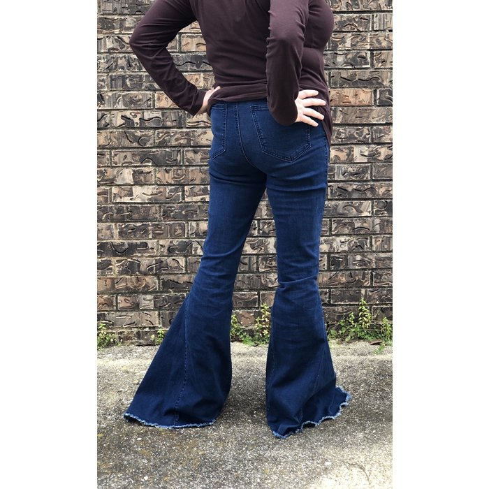 Dark Denim Bell Bottom Jean with Stretch Waist