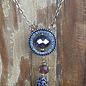 "26"" Navy Tassel Crystal Pendant Necklace"