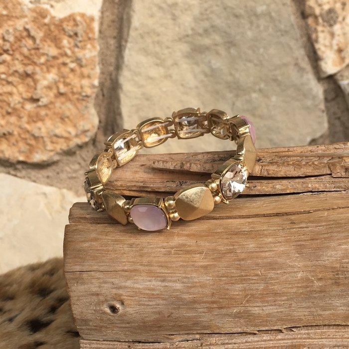 Matte Gold Clear & Light Pink Stretch Bracelet