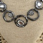 "18"" Hematite & Clear Stone Statement Necklace Set"