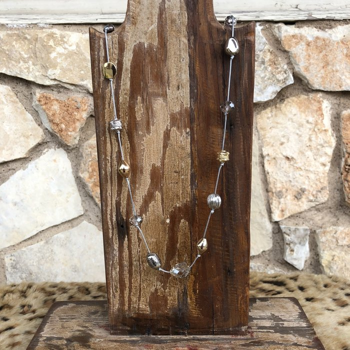 """44"""" Adjustable Gold & Silver Knotted Necklace"""