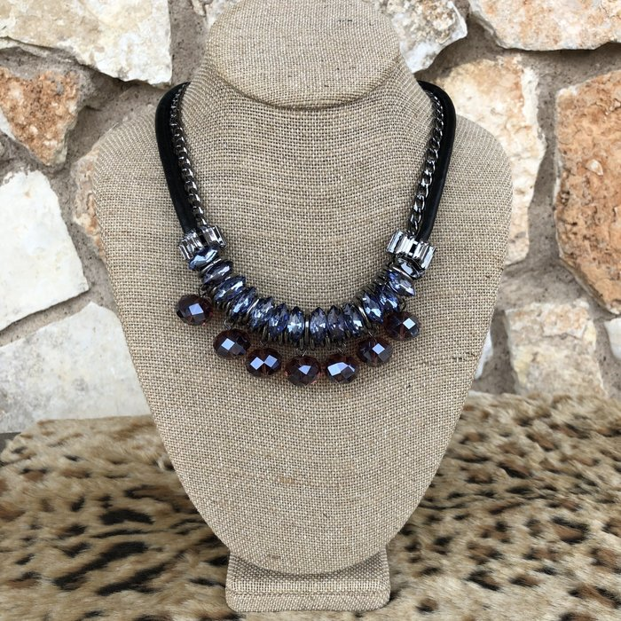 Purple Crystal Jeweled Chain Necklace Set