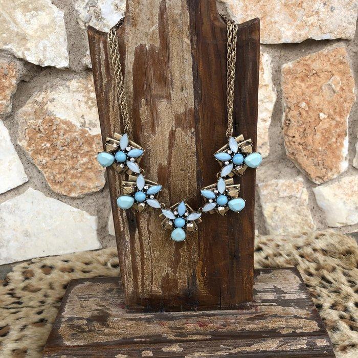 Mint Floral Statement Necklace