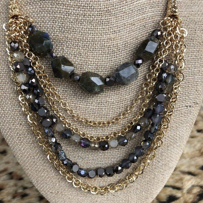 "18"" Olive & Grey Crystal Gold Necklace"