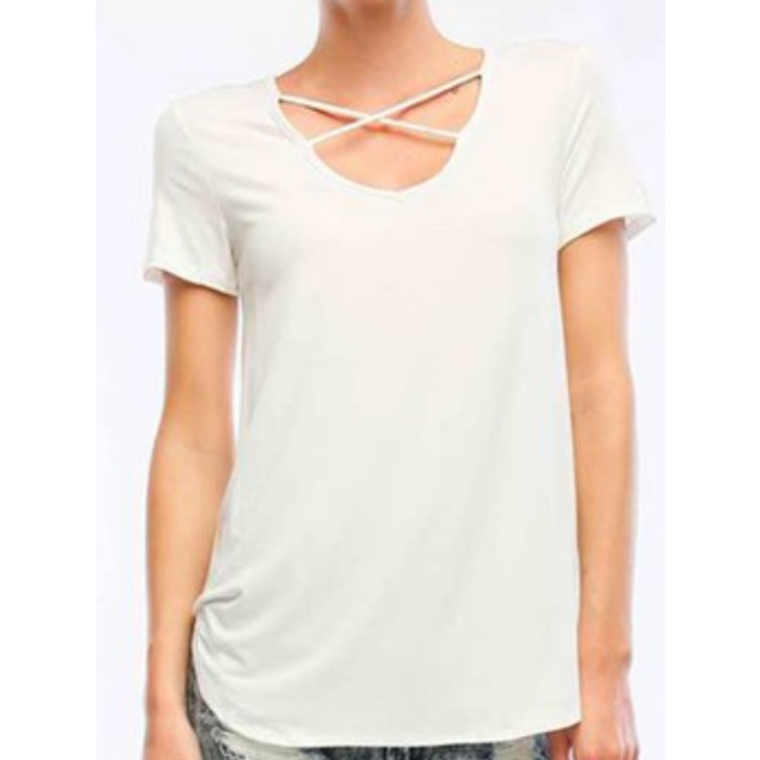 White Criss Cross Short Sleeve Top