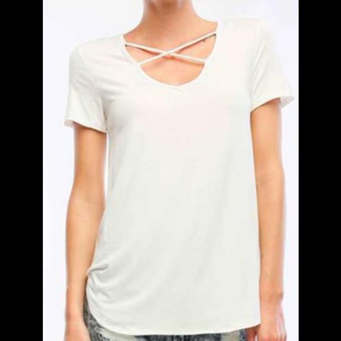 White Criss Cross Short Sleeve Top