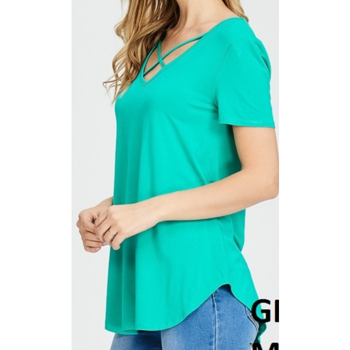 Jade Criss Cross Short Sleeve Top